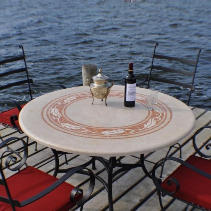Marmortisch rund 115 cm for Tischplatte rund marmor