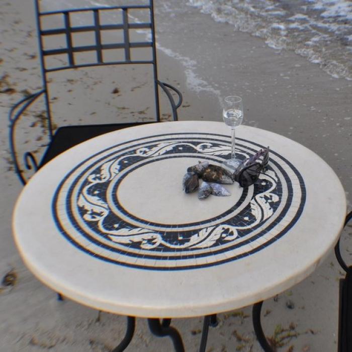Marmortisch rund 115 cm for Marmortisch schwarz