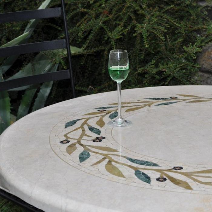 Marmortisch rund 90 cm for Garten marmortisch